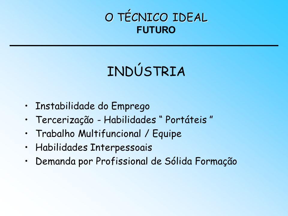 INDÚSTRIA Instabilidade do Emprego Tercerização - Habilidades Portáteis Trabalho Multifuncional / Equipe Habilidades Interpessoais Demanda por Profiss
