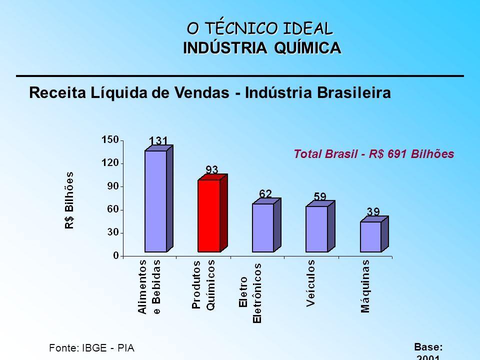 Fonte: IBGE - PIA Base: 2001 Total Brasil - R$ 691 Bilhões Receita Líquida de Vendas - Indústria Brasileira O TÉCNICO IDEAL INDÚSTRIA QUÍMICA
