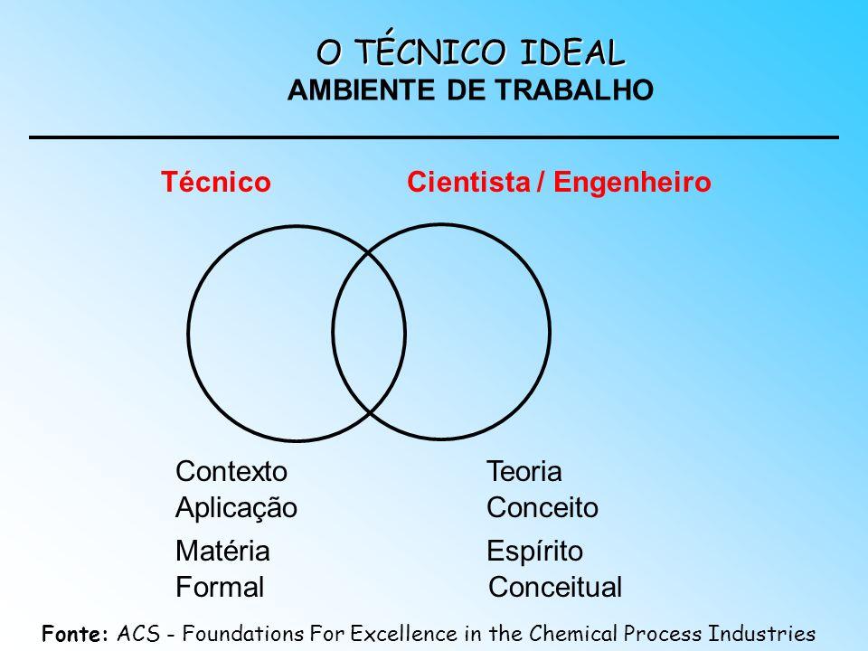 O TÉCNICO IDEAL O TÉCNICO IDEAL AMBIENTE DE TRABALHO TécnicoCientista / Engenheiro Aplicação Matéria Formal ContextoTeoria Espírito Conceitual Conceit