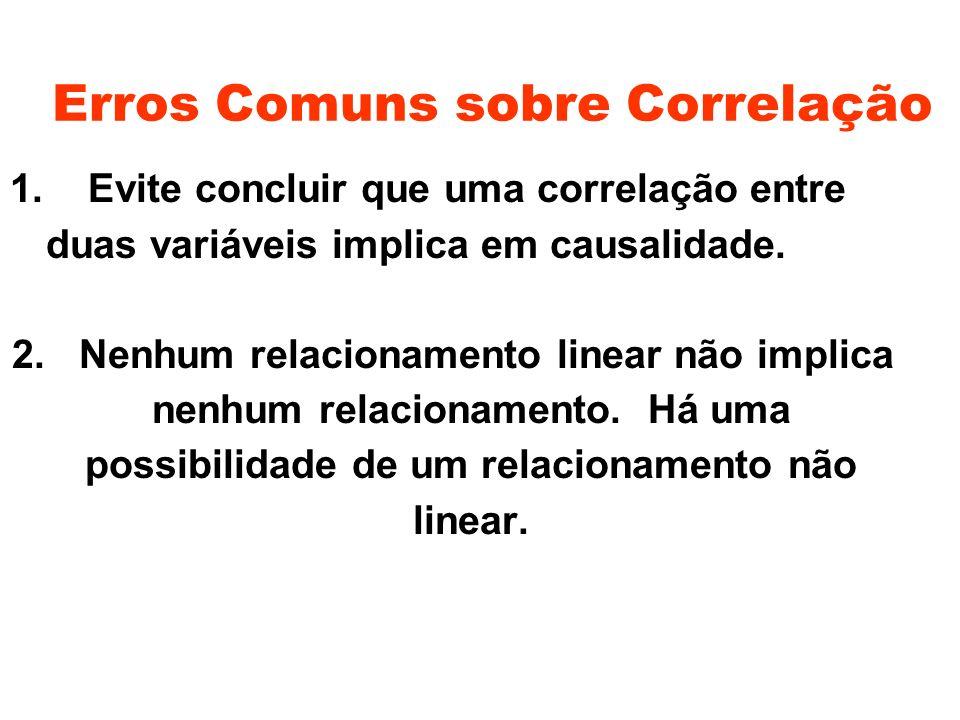 Erros Comuns sobre Correlação 1. Evite concluir que uma correlação entre duas variáveis implica em causalidade. 2. Nenhum relacionamento linear não im