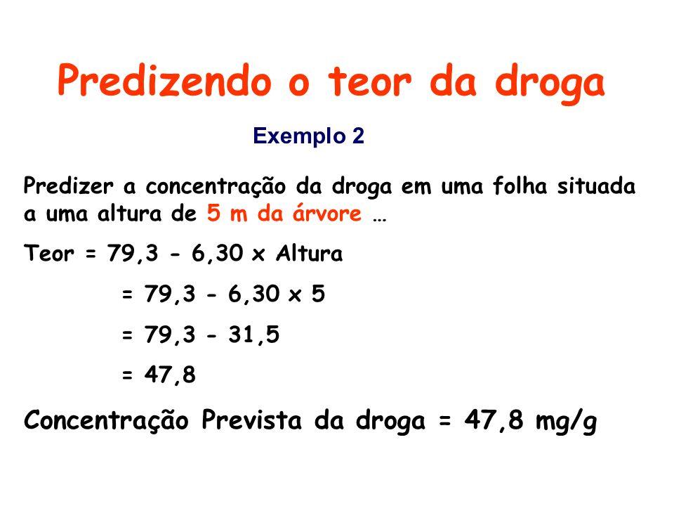 Predizendo o teor da droga Predizer a concentração da droga em uma folha situada a uma altura de 5 m da árvore … Teor = 79,3 - 6,30 x Altura = 79,3 -