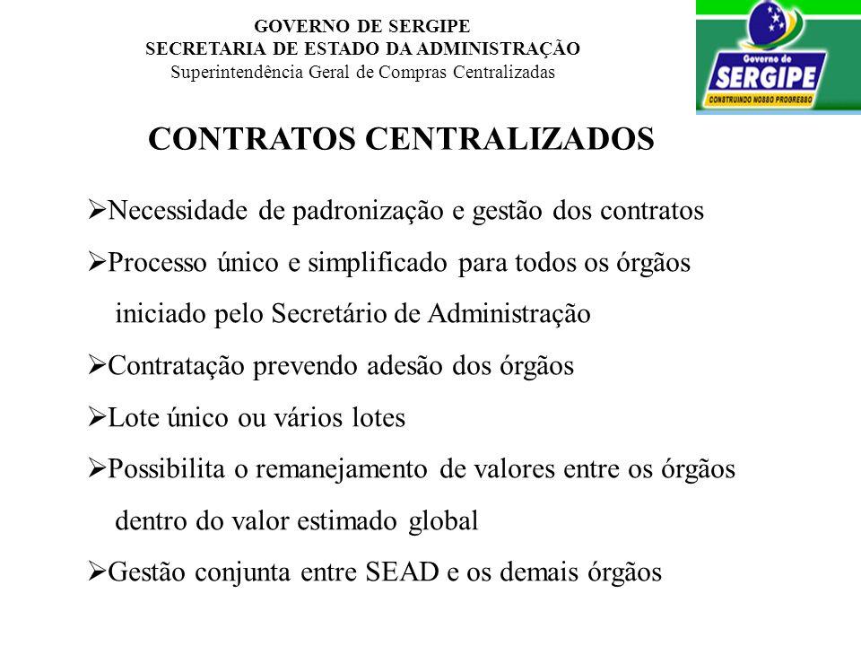 GOVERNO DE SERGIPE SECRETARIA DE ESTADO DA ADMINISTRAÇÃO Superintendência Geral de Compras Centralizadas CONTRATOS CENTRALIZADOS Necessidade de padron