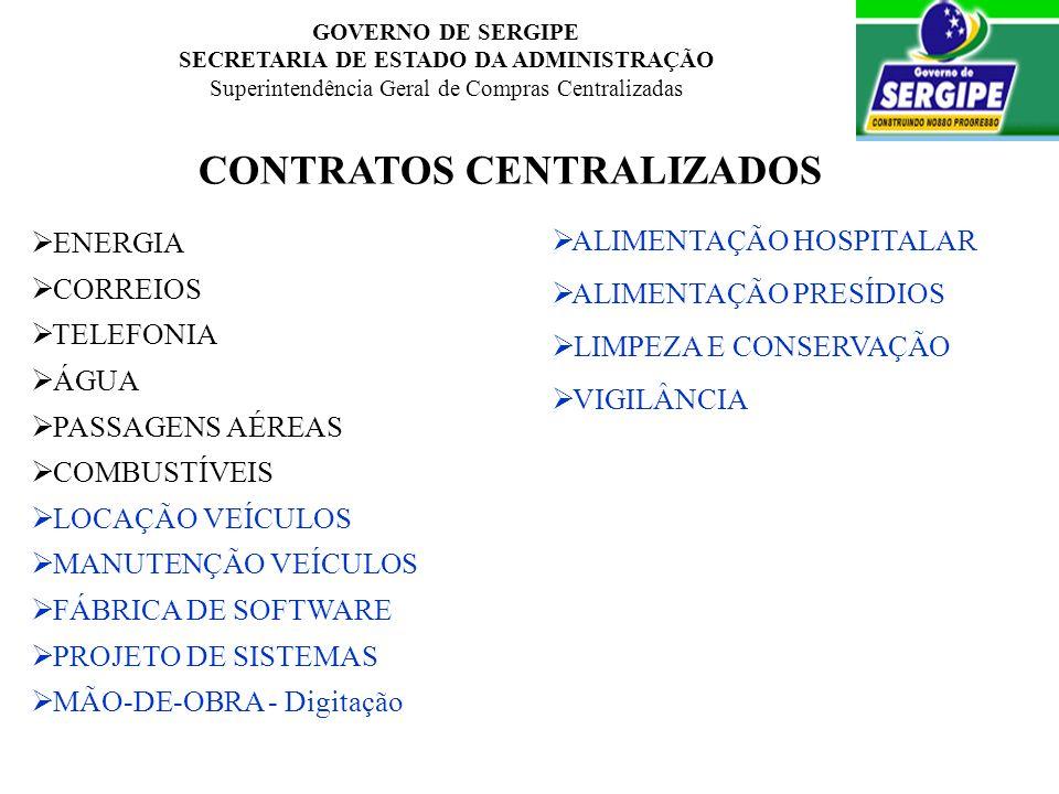 GOVERNO DE SERGIPE SECRETARIA DE ESTADO DA ADMINISTRAÇÃO Superintendência Geral de Compras Centralizadas CONTRATOS CENTRALIZADOS ALIMENTAÇÃO HOSPITALA