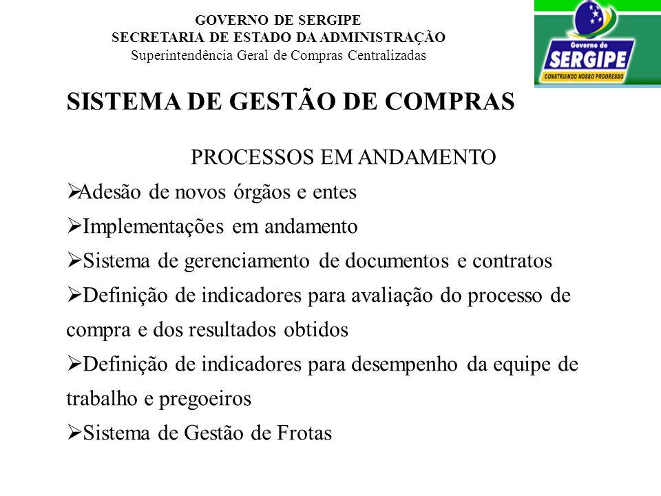 GOVERNO DE SERGIPE SECRETARIA DE ESTADO DA ADMINISTRAÇÃO Superintendência Geral de Compras Centralizadas SISTEMA DE GESTÃO DE COMPRAS PROCESSOS EM AND