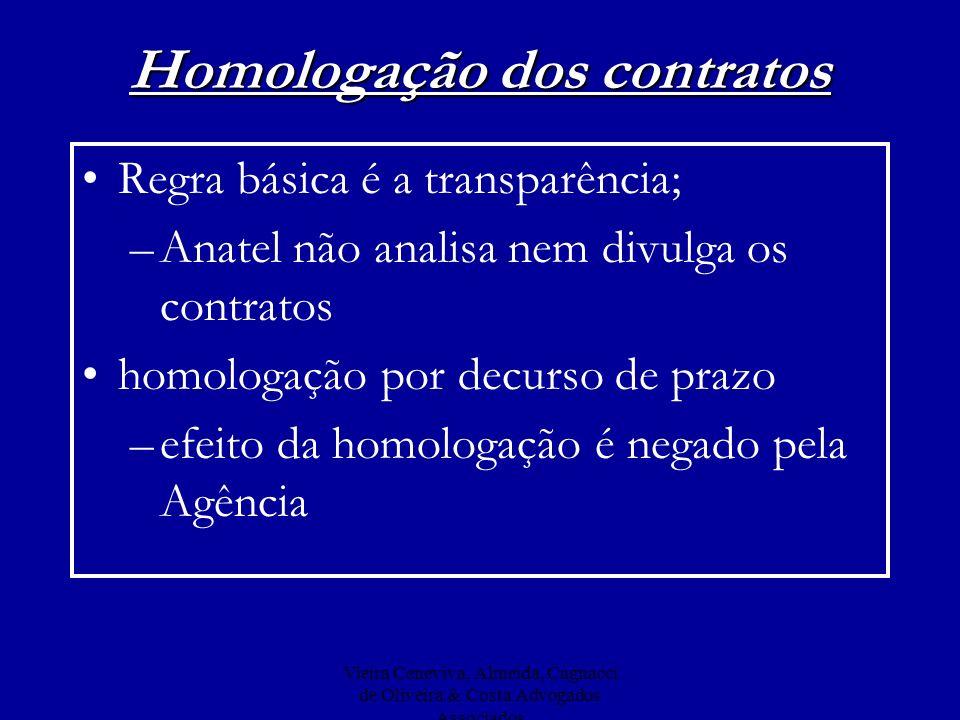 Vieira Ceneviva, Almeida, Cagnacci de Oliveira & Costa Advogados Associados Homologação dos contratos Regra básica é a transparência; –Anatel não anal
