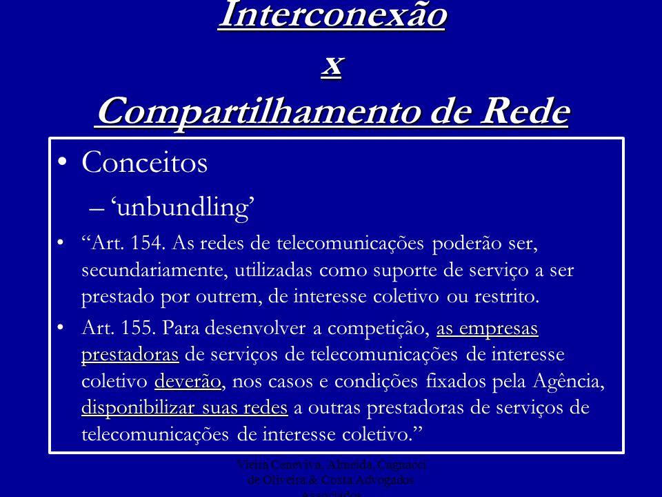 Vieira Ceneviva, Almeida, Cagnacci de Oliveira & Costa Advogados Associados Interconexão x Compartilhamento de Rede Conceitos –unbundling Art. 154. As