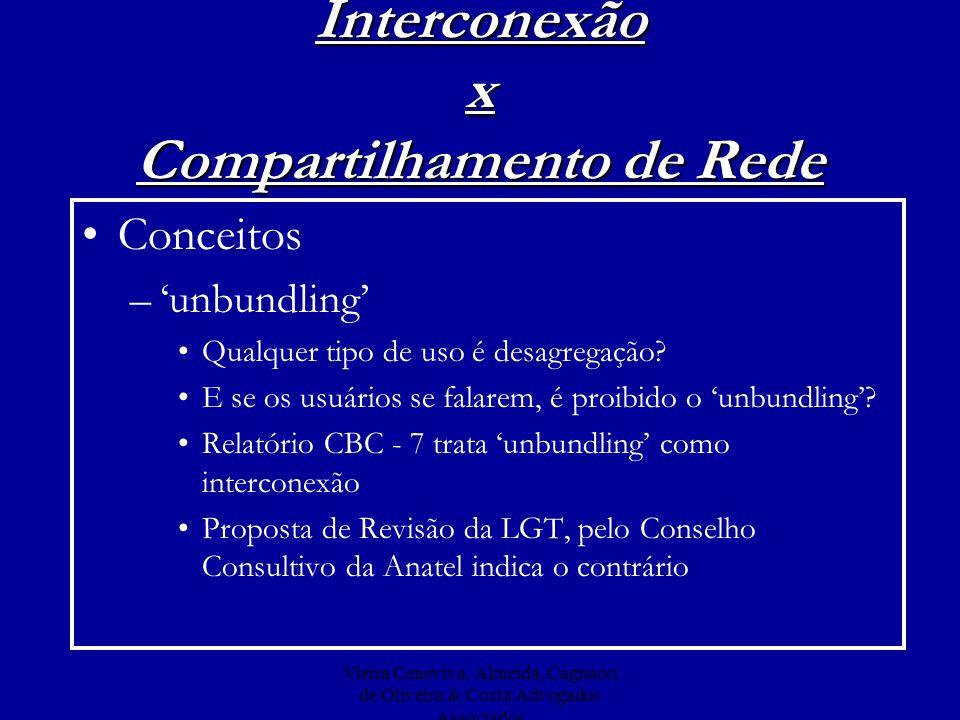 Vieira Ceneviva, Almeida, Cagnacci de Oliveira & Costa Advogados Associados Interconexão x Compartilhamento de Rede Conceitos –unbundling Qualquer tip