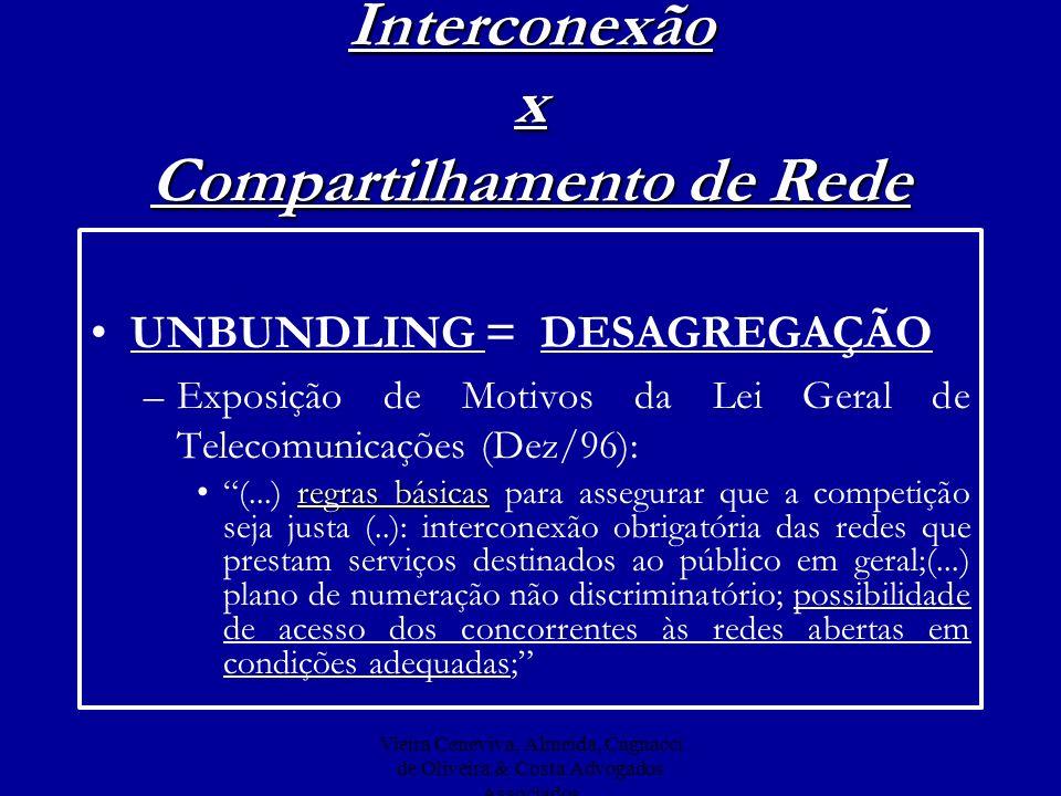 Vieira Ceneviva, Almeida, Cagnacci de Oliveira & Costa Advogados Associados Interconexão x Compartilhamento de Rede UNBUNDLING = DESAGREGAÇÃO –Exposiç