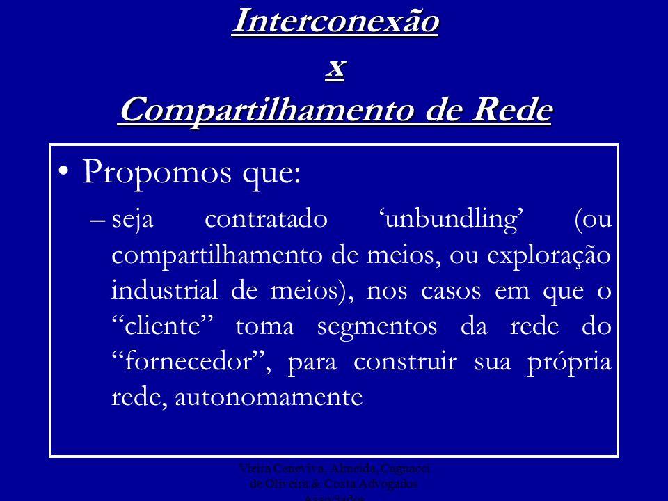 Vieira Ceneviva, Almeida, Cagnacci de Oliveira & Costa Advogados Associados Interconexão x Compartilhamento de Rede Propomos que: –seja contratado unb