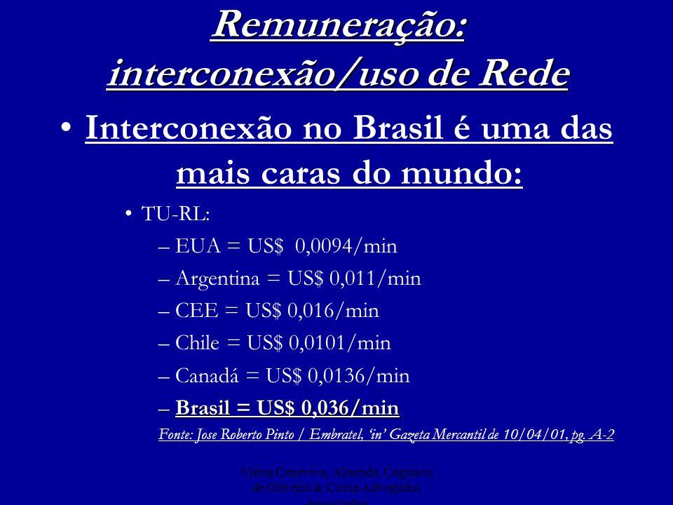 Vieira Ceneviva, Almeida, Cagnacci de Oliveira & Costa Advogados Associados Remuneração: interconexão/uso de Rede Interconexão no Brasil é uma das mai