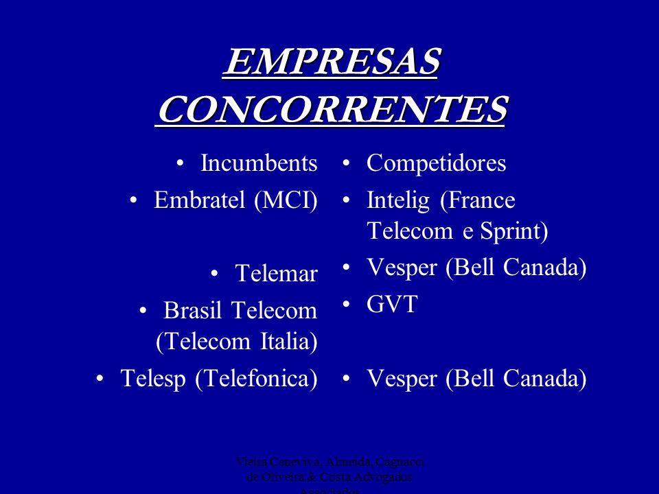 Vieira Ceneviva, Almeida, Cagnacci de Oliveira & Costa Advogados Associados EMPRESAS CONCORRENTES Incumbents Embratel (MCI) Telemar Brasil Telecom (Te