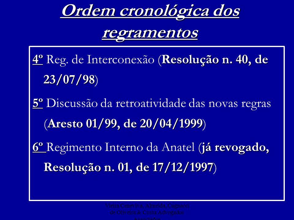 Vieira Ceneviva, Almeida, Cagnacci de Oliveira & Costa Advogados Associados Ordem cronológica dos regramentos 7º Análises 050/99- GCTC, de 11/09/99 e 026/99- GCTC, de 04/06/99 7º Arbitragem Embratel X BCP (Análises 050/99- GCTC, de 11/09/99 e 026/99- GCTC, de 04/06/99) 8º Resolução n.