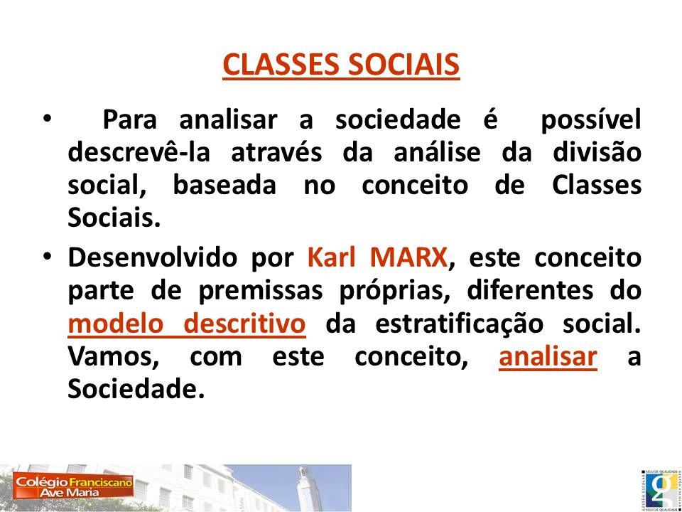 Para analisar a sociedade é possível descrevê-la através da análise da divisão social, baseada no conceito de Classes Sociais. Desenvolvido por Karl M