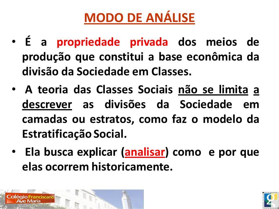 MODO DE ANÁLISE É a propriedade privada dos meios de produção que constitui a base econômica da divisão da Sociedade em Classes. A teoria das Classes