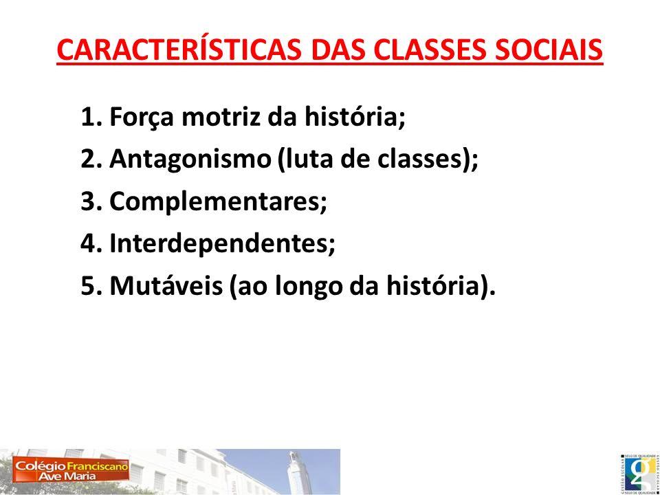 CARACTERÍSTICAS DAS CLASSES SOCIAIS 1. Força motriz da história; 2. Antagonismo (luta de classes); 3. Complementares; 4. Interdependentes; 5. Mutáveis