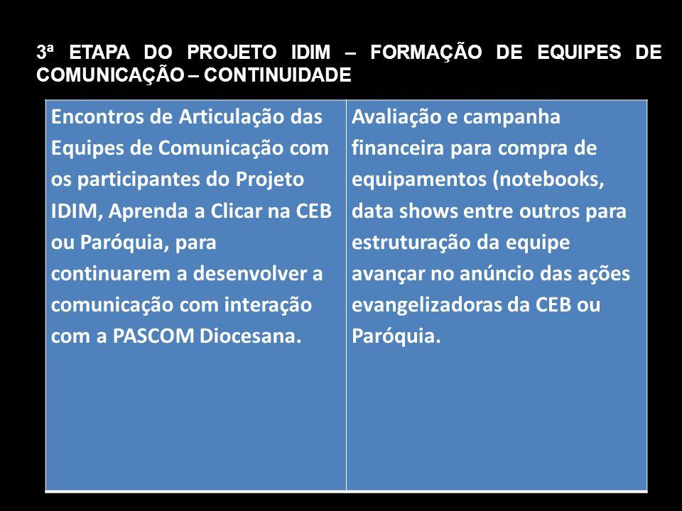 Encontros de Articulação das Equipes de Comunicação com os participantes do Projeto IDIM, Aprenda a Clicar na CEB ou Paróquia, para continuarem a dese