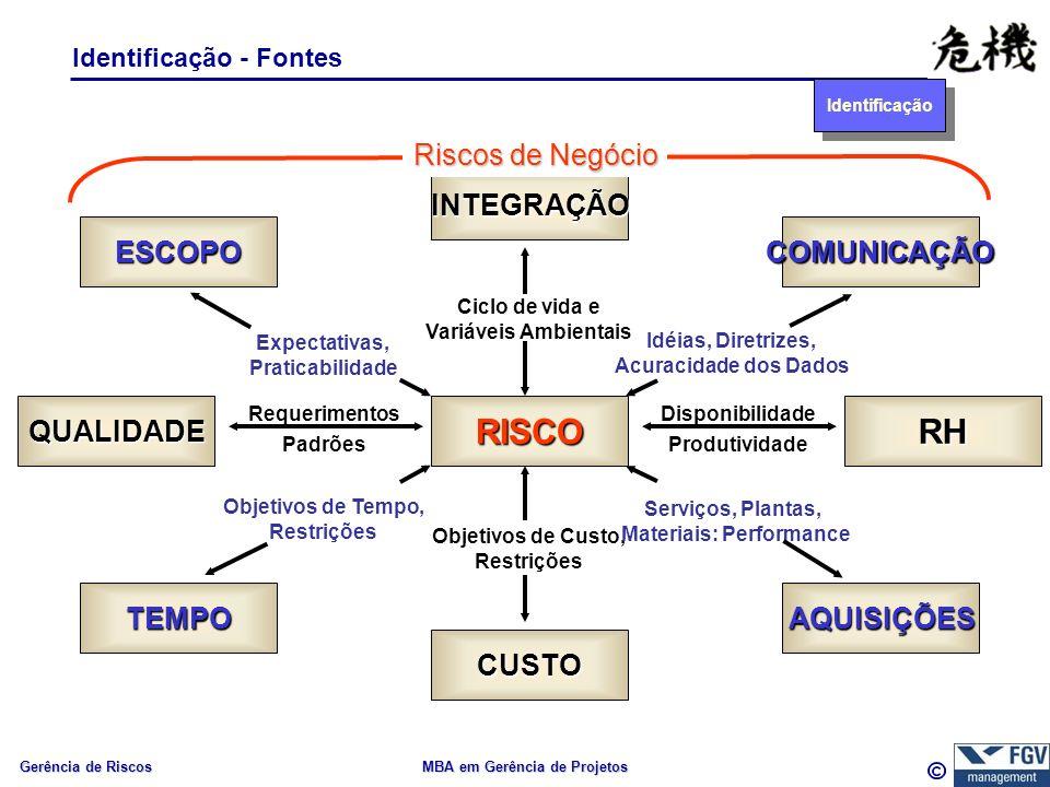 Gerência de Riscos MBA em Gerência de Projetos Identificação - Fontes INTEGRAÇÃO RISCOQUALIDADERH CUSTO COMUNICAÇÃO AQUISIÇÕES ESCOPO TEMPO Ciclo de v