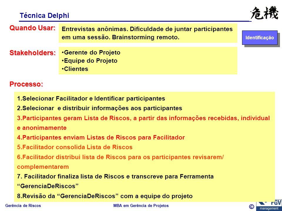 Gerência de Riscos MBA em Gerência de Projetos Técnica Delphi Quando Usar: Processo: Entrevistas anônimas.
