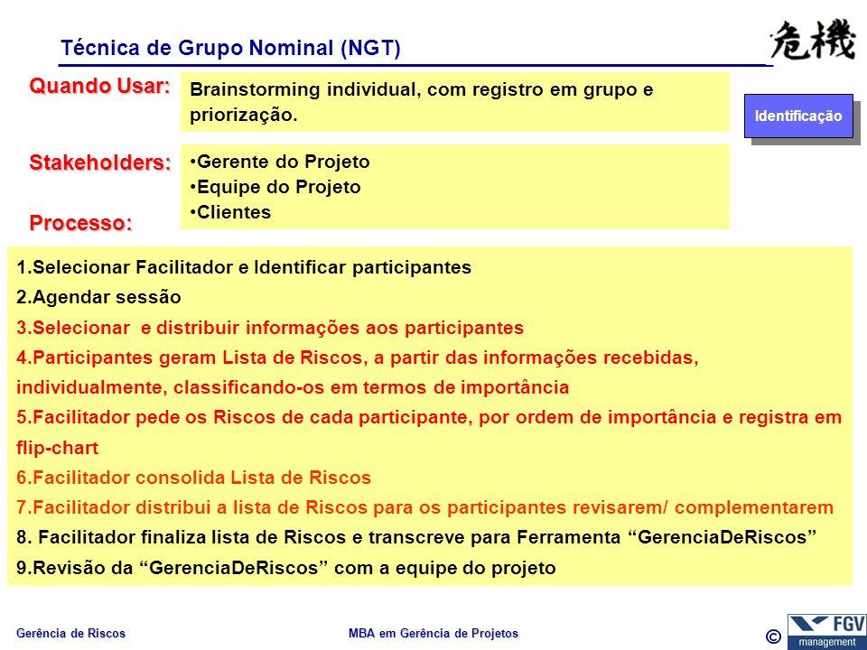 Gerência de Riscos MBA em Gerência de Projetos Técnica de Grupo Nominal (NGT) Quando Usar: Processo: Brainstorming individual, com registro em grupo e priorização.