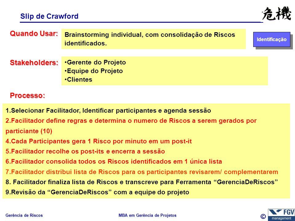 Gerência de Riscos MBA em Gerência de Projetos Slip de Crawford Quando Usar: Processo: Brainstorming individual, com consolidação de Riscos identificados.