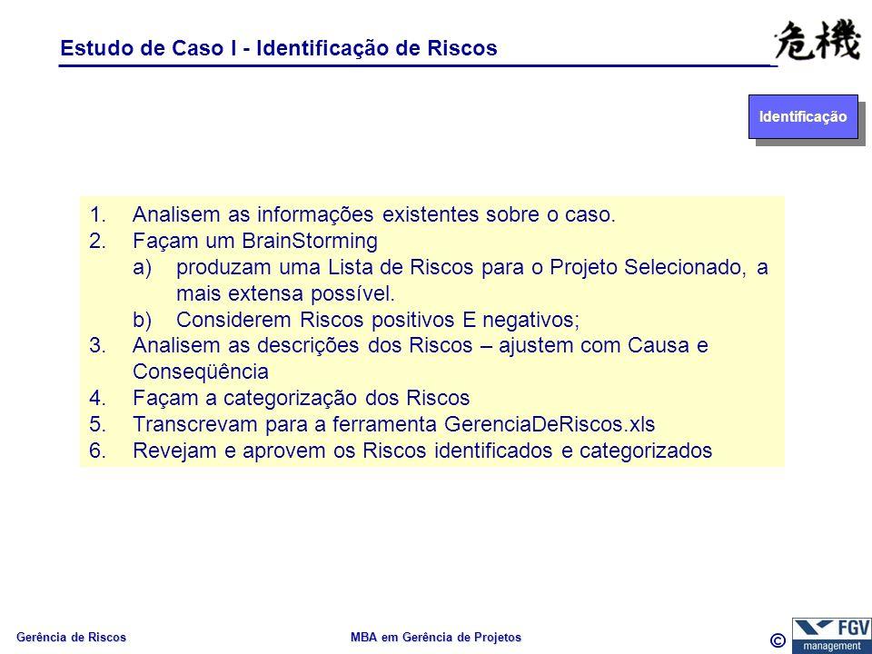 Gerência de Riscos MBA em Gerência de Projetos Estudo de Caso I - Identificação de Riscos 1.Analisem as informações existentes sobre o caso.