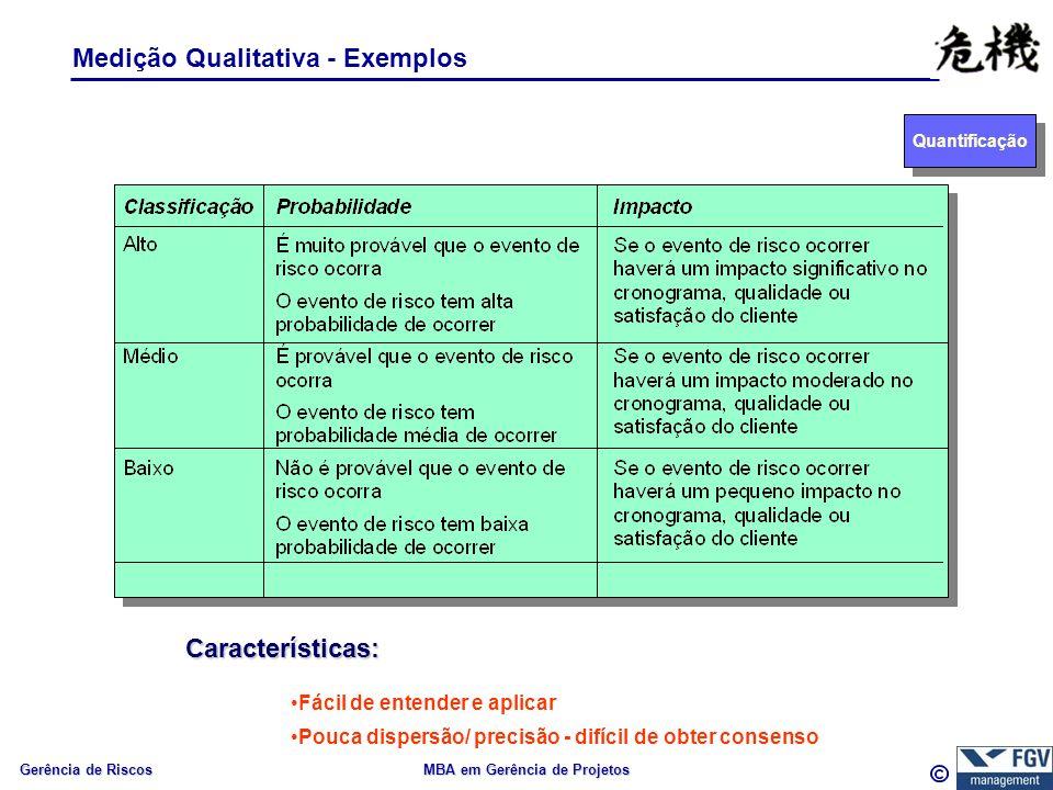 Gerência de Riscos MBA em Gerência de Projetos Medição Qualitativa - Exemplos Características: Fácil de entender e aplicar Pouca dispersão/ precisão - difícil de obter consenso Quantificação
