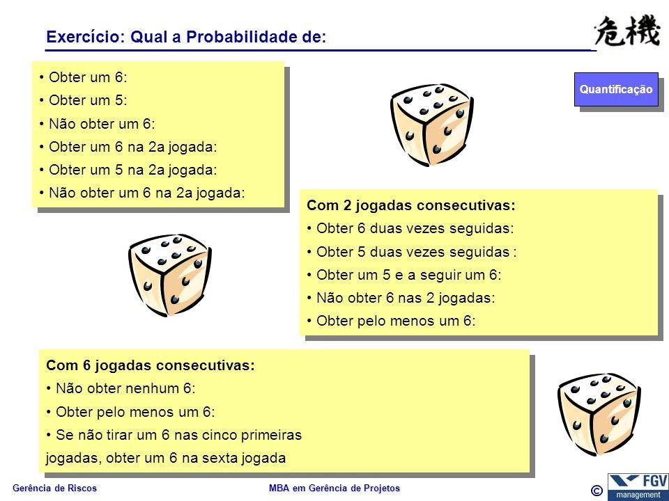 Gerência de Riscos MBA em Gerência de Projetos Exercício: Qual a Probabilidade de: Obter um 6: Obter um 5: Não obter um 6: Obter um 6 na 2a jogada: Obter um 5 na 2a jogada: Não obter um 6 na 2a jogada: Obter um 6: Obter um 5: Não obter um 6: Obter um 6 na 2a jogada: Obter um 5 na 2a jogada: Não obter um 6 na 2a jogada: Com 2 jogadas consecutivas: Obter 6 duas vezes seguidas: Obter 5 duas vezes seguidas : Obter um 5 e a seguir um 6: Não obter 6 nas 2 jogadas: Obter pelo menos um 6: Com 2 jogadas consecutivas: Obter 6 duas vezes seguidas: Obter 5 duas vezes seguidas : Obter um 5 e a seguir um 6: Não obter 6 nas 2 jogadas: Obter pelo menos um 6: Com 6 jogadas consecutivas: Não obter nenhum 6: Obter pelo menos um 6: Se não tirar um 6 nas cinco primeiras jogadas, obter um 6 na sexta jogada Com 6 jogadas consecutivas: Não obter nenhum 6: Obter pelo menos um 6: Se não tirar um 6 nas cinco primeiras jogadas, obter um 6 na sexta jogada Quantificação