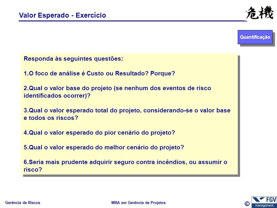 Gerência de Riscos MBA em Gerência de Projetos Valor Esperado - Exercício Quantificação Responda às seguintes questões: 1.O foco de análise é Custo ou Resultado.