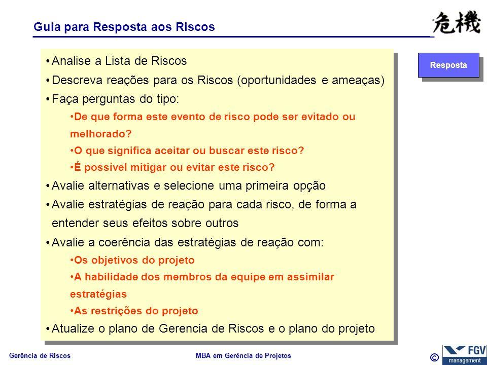Gerência de Riscos MBA em Gerência de Projetos Guia para Resposta aos Riscos Resposta Analise a Lista de Riscos Descreva reações para os Riscos (oport