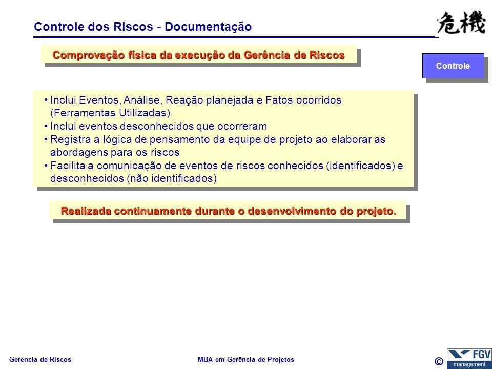 Gerência de Riscos MBA em Gerência de Projetos Controle dos Riscos - Documentação Controle Inclui Eventos, Análise, Reação planejada e Fatos ocorridos