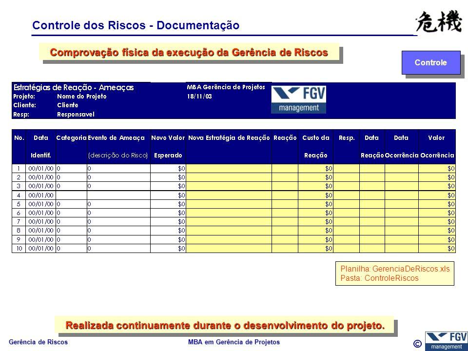 Gerência de Riscos MBA em Gerência de Projetos Controle dos Riscos - Documentação Controle Comprovação física da execução da Gerência de Riscos Realiz