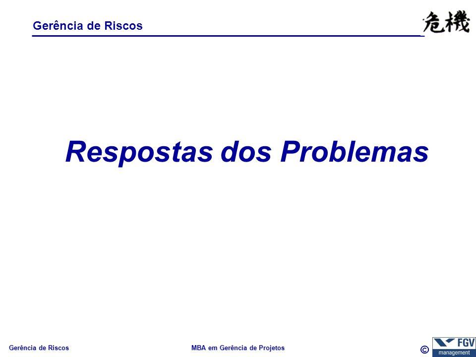 Gerência de Riscos MBA em Gerência de Projetos Gerência de Riscos Respostas dos Problemas