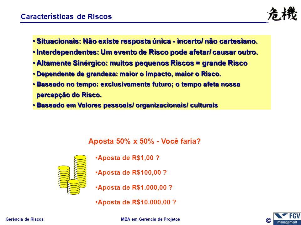 Gerência de Riscos MBA em Gerência de Projetos Características de Riscos Situacionais: Não existe resposta única - incerto/ não cartesiano.Situacionais: Não existe resposta única - incerto/ não cartesiano.