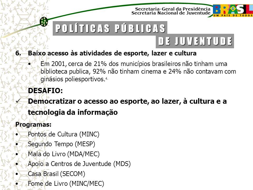 Secretaria-Geral da Presidência Secretaria Nacional de Juventude 6.Baixo acesso às atividades de esporte, lazer e cultura Em 2001, cerca de 21% dos mu