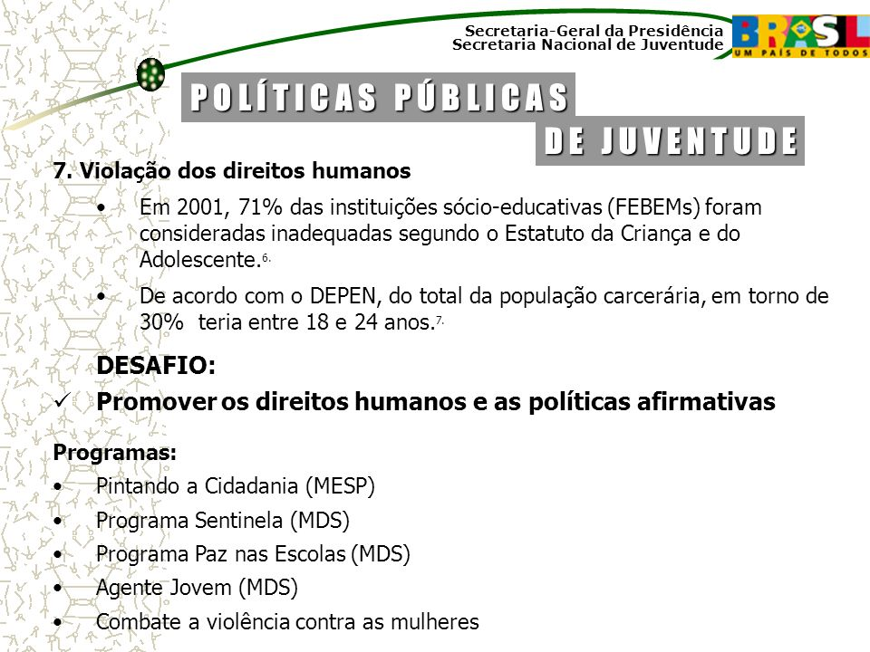 Secretaria-Geral da Presidência Secretaria Nacional de Juventude 7. Violação dos direitos humanos Em 2001, 71% das instituições sócio-educativas (FEBE
