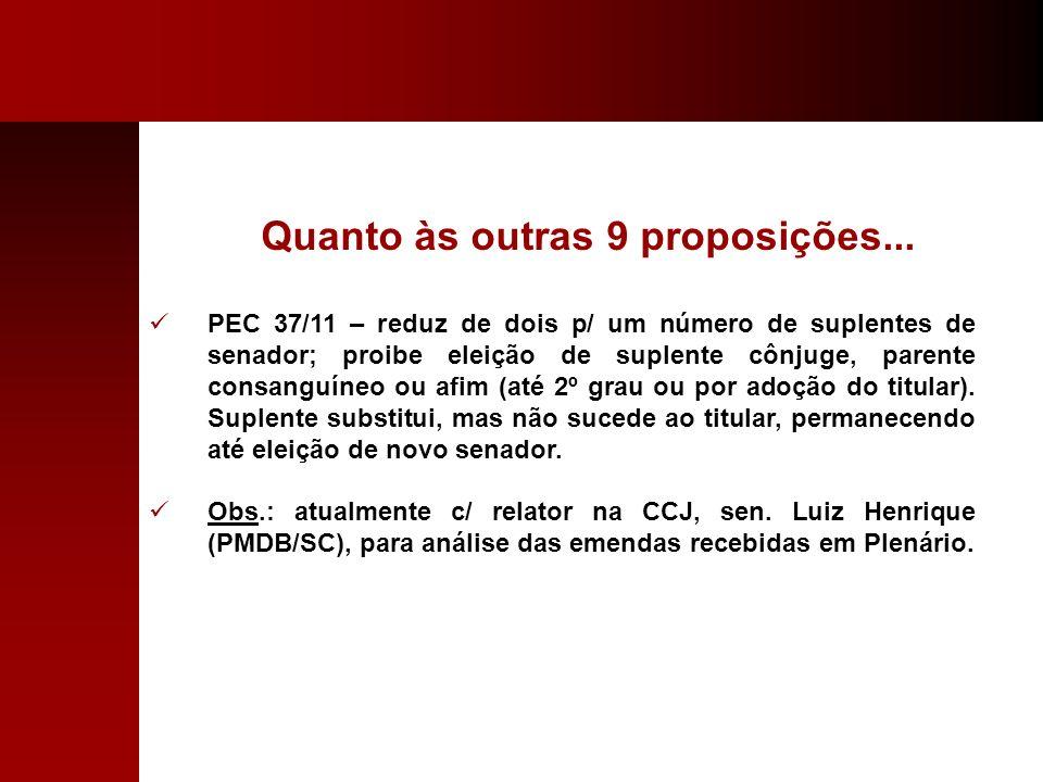 Quanto às outras 9 proposições... PEC 37/11 – reduz de dois p/ um número de suplentes de senador; proibe eleição de suplente cônjuge, parente consangu