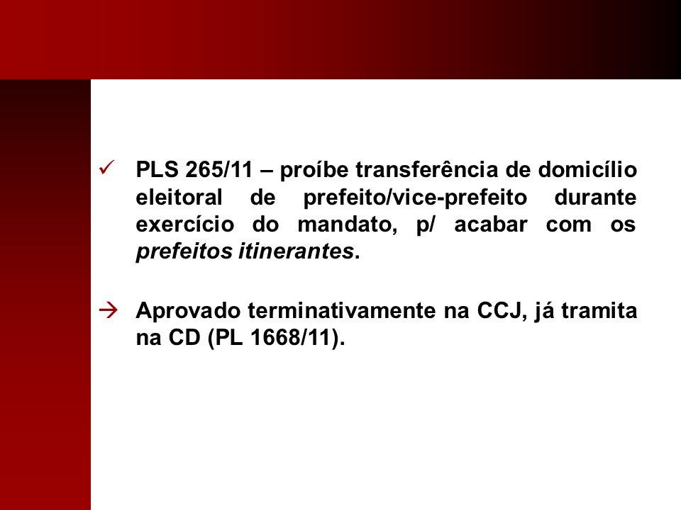 PLS 265/11 – proíbe transferência de domicílio eleitoral de prefeito/vice-prefeito durante exercício do mandato, p/ acabar com os prefeitos itinerante