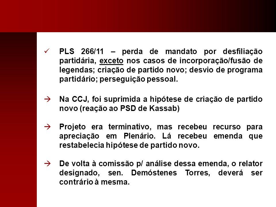 PLS 266/11 – perda de mandato por desfiliação partidária, exceto nos casos de incorporação/fusão de legendas; criação de partido novo; desvio de progr
