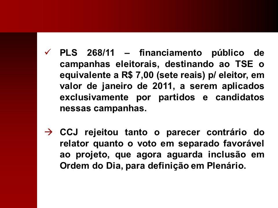 PLS 268/11 – financiamento público de campanhas eleitorais, destinando ao TSE o equivalente a R$ 7,00 (sete reais) p/ eleitor, em valor de janeiro de