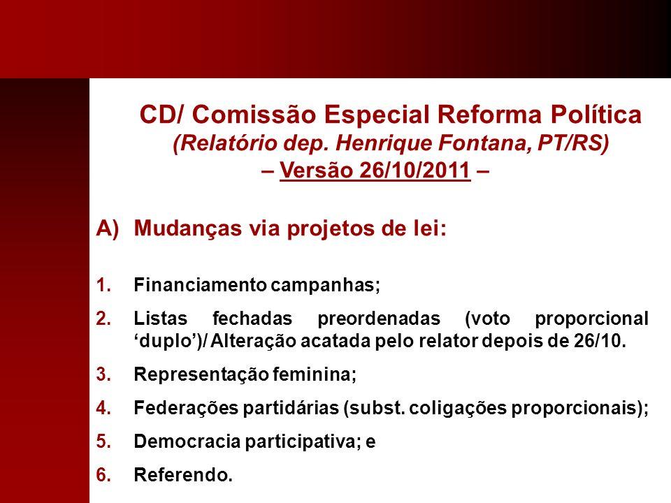 CD/ Comissão Especial Reforma Política (Relatório dep. Henrique Fontana, PT/RS) – Versão 26/10/2011 – A)Mudanças via projetos de lei: 1.Financiamento
