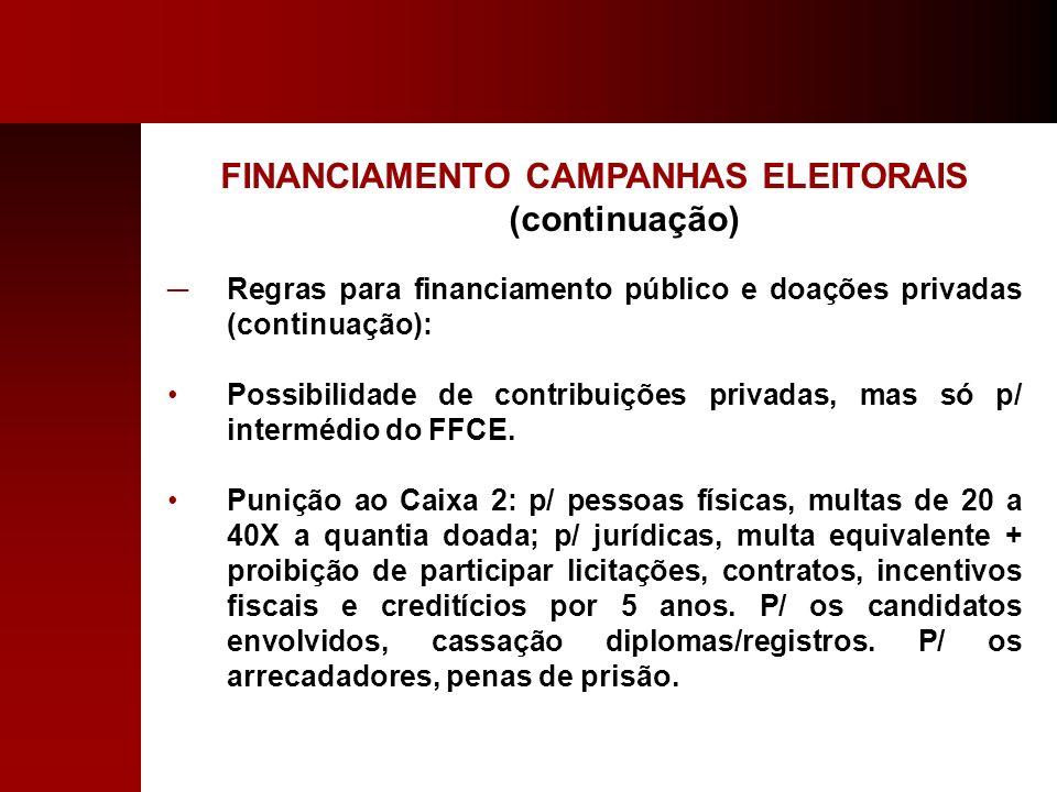 FINANCIAMENTO CAMPANHAS ELEITORAIS (continuação) Regras para financiamento público e doações privadas (continuação): Possibilidade de contribuições pr