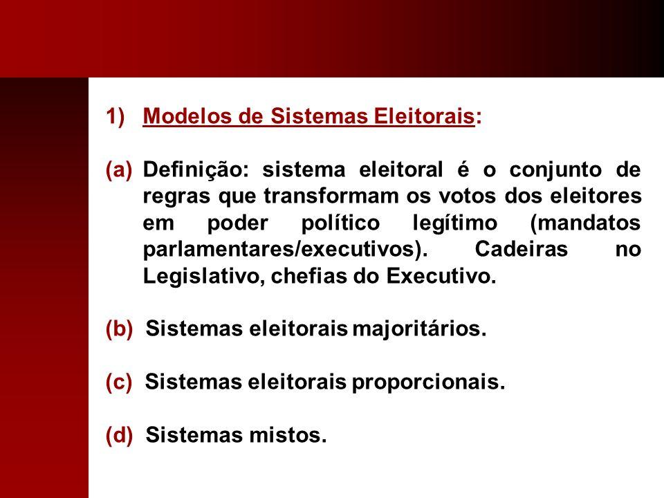 1)Modelos de Sistemas Eleitorais: (a)Definição: sistema eleitoral é o conjunto de regras que transformam os votos dos eleitores em poder político legí