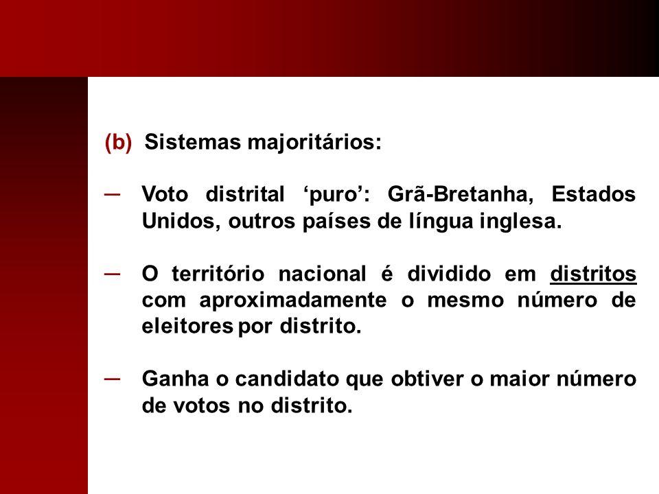 (b) Sistemas majoritários: Voto distrital puro: Grã-Bretanha, Estados Unidos, outros países de língua inglesa. O território nacional é dividido em dis