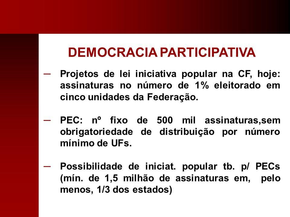 DEMOCRACIA PARTICIPATIVA Projetos de lei iniciativa popular na CF, hoje: assinaturas no número de 1% eleitorado em cinco unidades da Federação. PEC: n