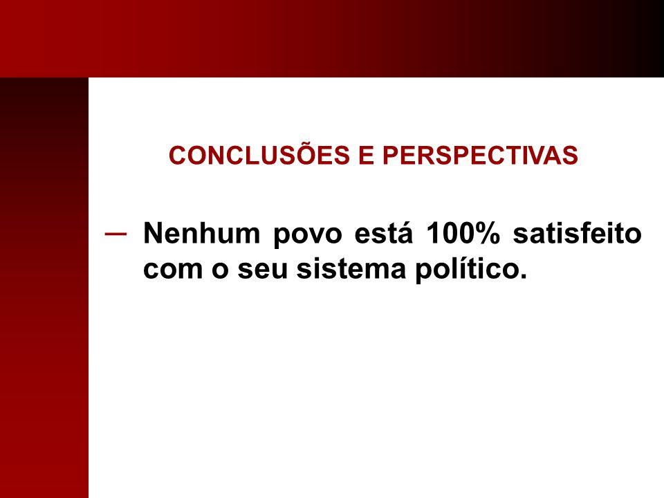 CONCLUSÕES E PERSPECTIVAS Nenhum povo está 100% satisfeito com o seu sistema político.