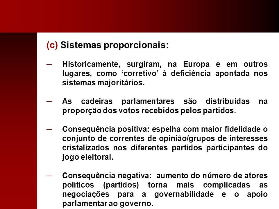 (c) Sistemas proporcionais: Historicamente, surgiram, na Europa e em outros lugares, como corretivo à deficiência apontada nos sistemas majoritários.