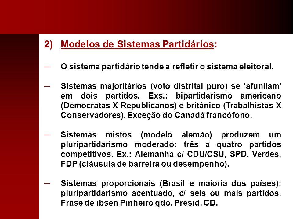 2)Modelos de Sistemas Partidários: O sistema partidário tende a refletir o sistema eleitoral. Sistemas majoritários (voto distrital puro) se afunilam