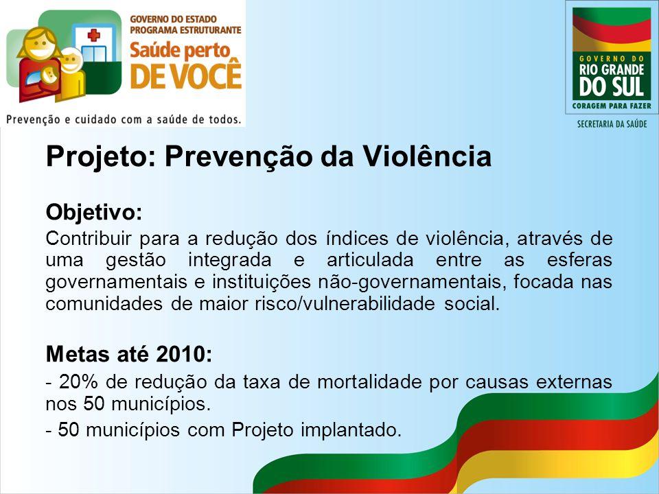 Projeto: Prevenção da Violência Objetivo: Contribuir para a redução dos índices de violência, através de uma gestão integrada e articulada entre as es