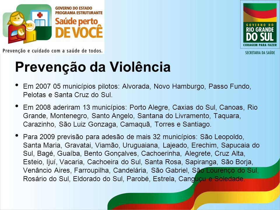 Prevenção da Violência Em 2007 05 municípios pilotos: Alvorada, Novo Hamburgo, Passo Fundo, Pelotas e Santa Cruz do Sul. Em 2008 aderiram 13 município