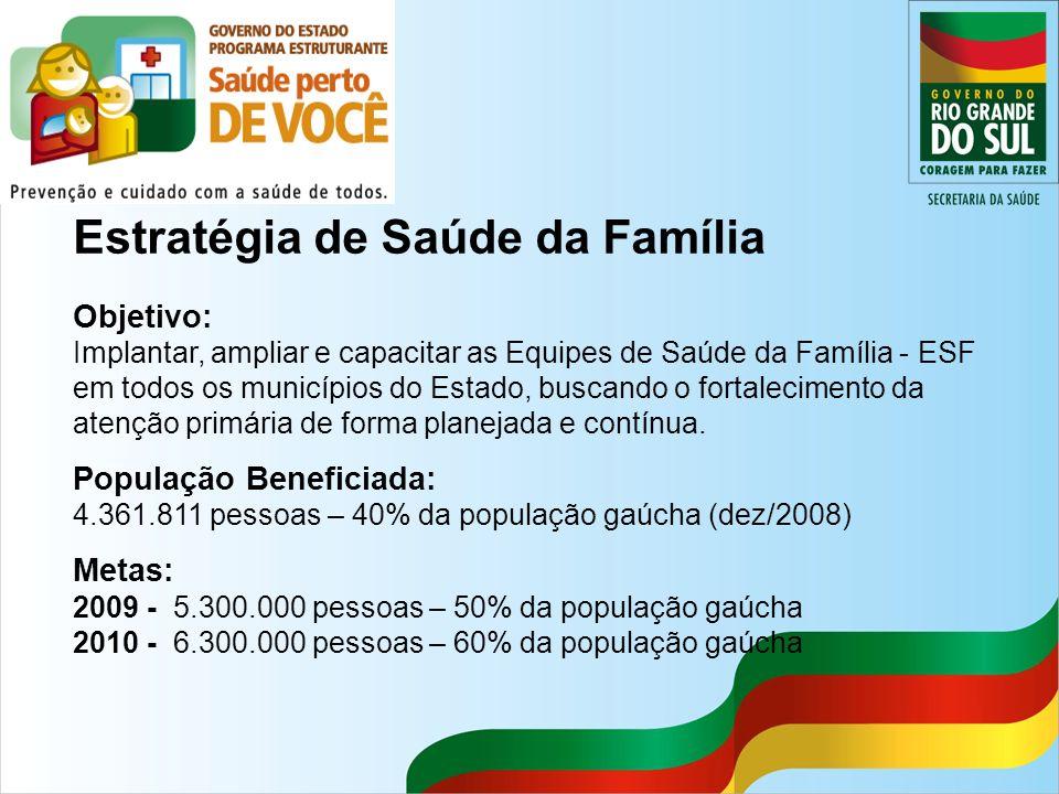 Estratégia de Saúde da Família Objetivo: Implantar, ampliar e capacitar as Equipes de Saúde da Família - ESF em todos os municípios do Estado, buscand